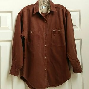 Long sleeve casual brown button down